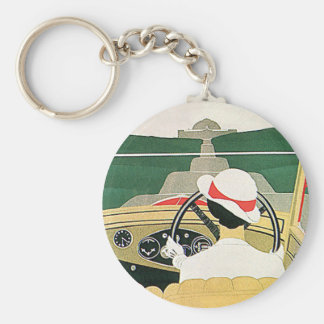 Vintage Travel, Convertible Car in the Country Basic Round Button Keychain