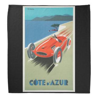 Vintage Travel Cote d'Azur France Red Race Car Bandana