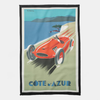 Vintage Travel Cote d'Azur France Red Race Car Kitchen Towel