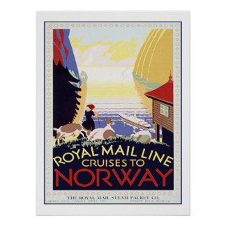 Vintage Travel Cruise to Norway Poster