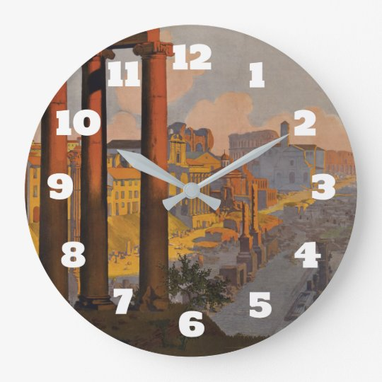 Vintage Travel Design with Roman Forum in View Large Clock