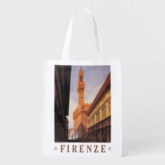 Vintage Travel, Firenze, Florence, Palazzo Vecchio Reusable Grocery Bag