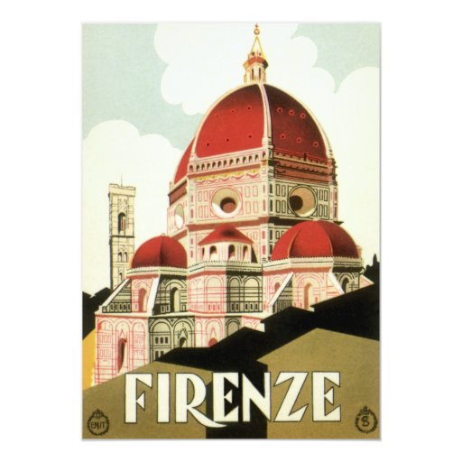 "Vintage Travel Florence Firenze Italy Church Duomo 5"" X 7"" Invitation Card"