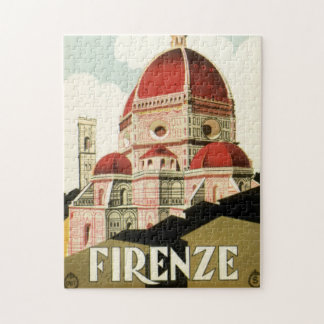 Vintage Travel Florence Firenze Italy Church Duomo Jigsaw Puzzle