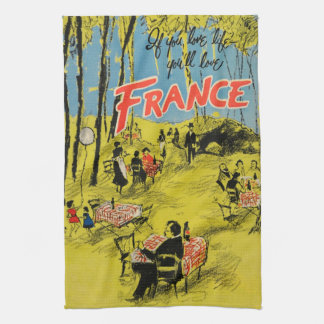 Vintage Travel France Green 1950s Kitchen Towel