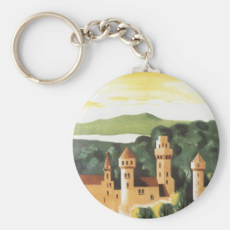 Vintage Travel, German Castle, Bavaria Germany Basic Round Button Keychain
