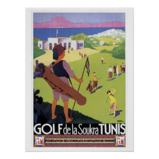 Vintage travel Golf de La Soukra Tunis Poster