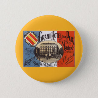 Vintage Travel, Grand Hotel Paix, Madrid, Spain 2 Inch Round Button