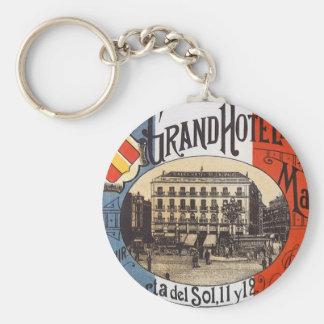 Vintage Travel, Grand Hotel Paix, Madrid, Spain Basic Round Button Keychain