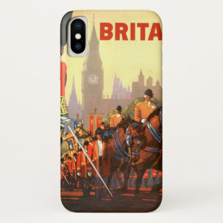Vintage Travel, Great Britain England, Royal Guard iPhone X Case
