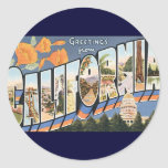 Vintage Travel, Greetings from California Poppies Round Stickers