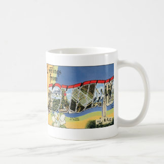 Vintage Travel, Greetings From Louisiana Gulf Coffee Mug