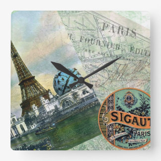 Vintage Travel in Paris Square Wall Clock