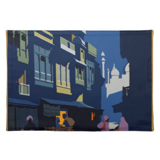 Vintage Travel India A Street By Moonlight Placemat