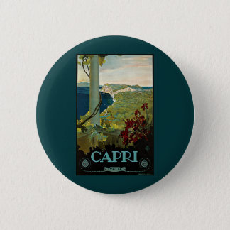 Vintage Travel, Isle of Capri, Italy Italia Coast 2 Inch Round Button