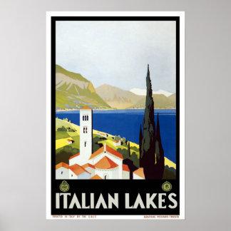 Vintage travel,Italian Lakes Poster