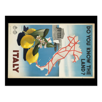 Vintage Travel Italy Map with Lemons Postcard