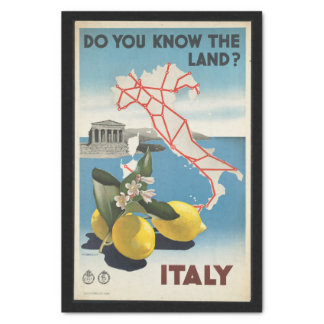 Vintage Travel Italy Map with Lemons Tissue Paper