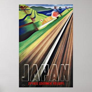 Vintage Travel Japan Railways Poster