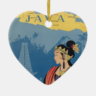 Vintage Travel Java Indonesia Ceramic Ornament