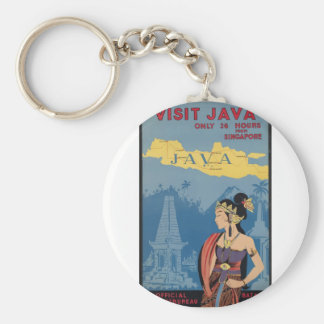 Vintage Travel Java Indonesia Keychain