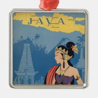 Vintage Travel Java Indonesia Metal Ornament