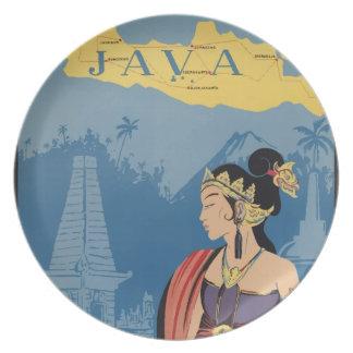 Vintage Travel Java Indonesia Plate