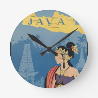 Vintage Travel Java Indonesia Round Clock