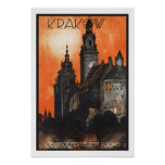 Vintage Travel Krakow Poland Poster