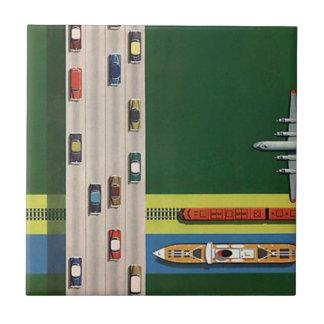 Vintage Travel Logistics transportation Modes Tile