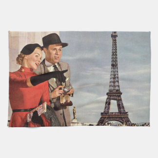 Vintage Travel - Lovers in Paris Kitchen Towel