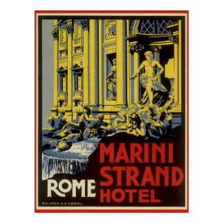 Vintage Travel, Marini Strand Hotel, Rome, Italy Postcard