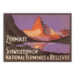 Vintage Travel, Matterhorn Mountain in Switzerland Personalized Announcement