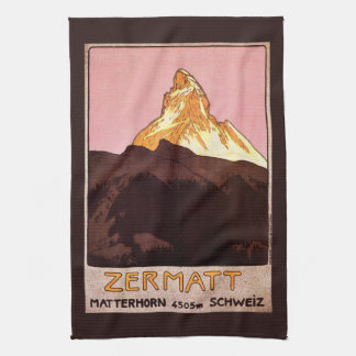 Vintage Travel, Matterhorn Mountain, Switzerland Kitchen Towel