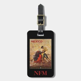 Vintage Travel Mexico Bull Fighting Matador Luggage Tag