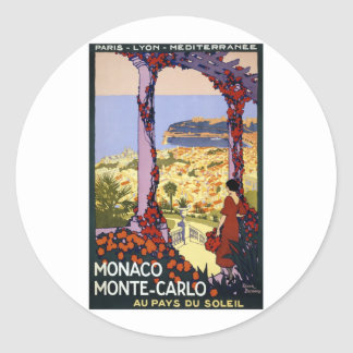 Vintage Travel - Monaco Monte-Carlo Classic Round Sticker