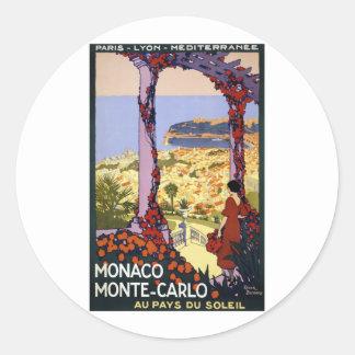 Vintage Travel - Monaco Monte-Carlo Round Sticker