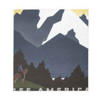 Vintage Travel Montana America USA Notepad