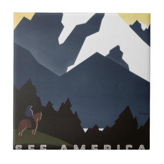 Vintage Travel Montana America USA Tile