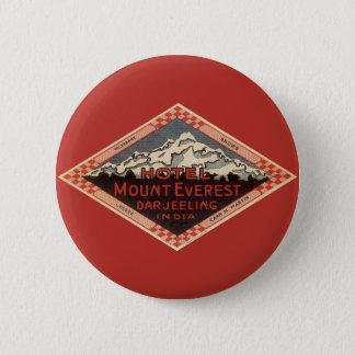 Vintage Travel, Mount Everest, Darjeeling India 2 Inch Round Button