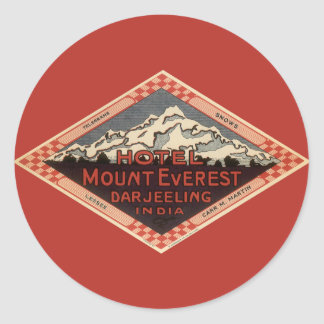 Vintage Travel, Mount Everest, Darjeeling India Round Sticker