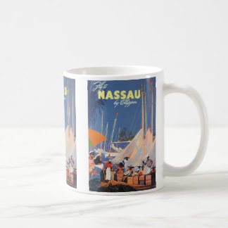 Vintage Travel, Nassau Harbor, Florida, Sailboats Coffee Mug