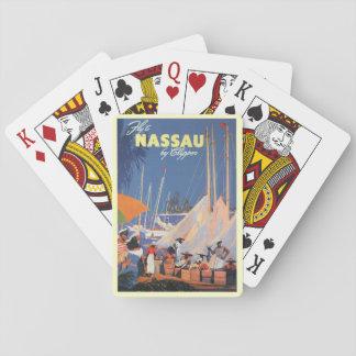 Vintage Travel, Nassau Harbor, Florida, Sailboats Poker Deck