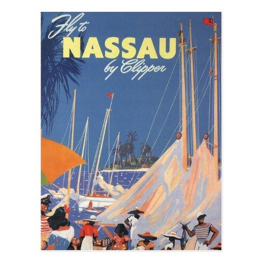 Vintage Travel, Nassau Harbor, Florida, Sailboats Postcards