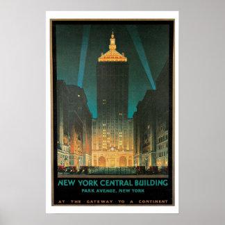 Vintage Travel,New York Central Building Poster