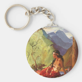 Vintage Travel, New Zealand Landscape Native Woman Basic Round Button Keychain