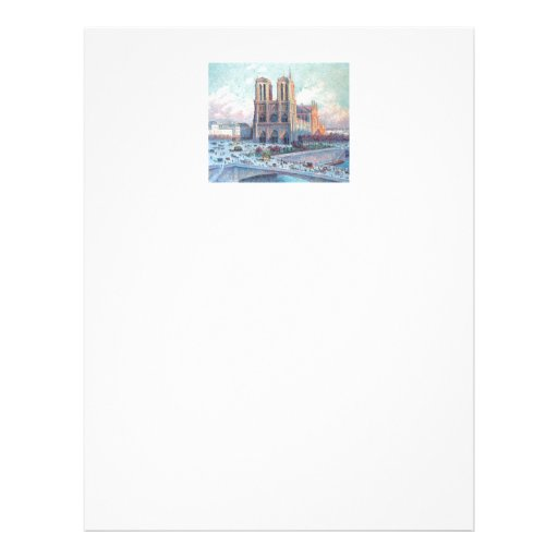 Vintage Travel Notre Dame de Paris Customized Letterhead