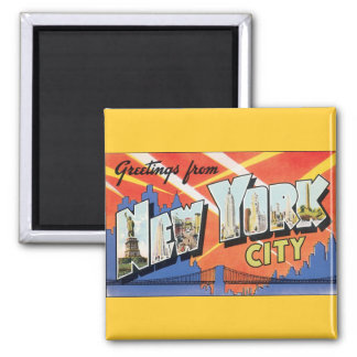 Vintage Travel NYC, Greetings from New York City Square Magnet