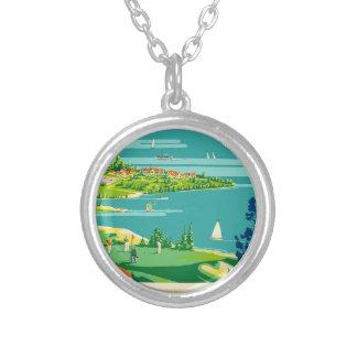 Vintage Travel Ontario Canada Silver Plated Necklace