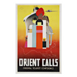 Vintage Travel Orient Calls to Asia. Poster